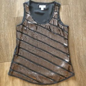 Loft Bronze Beaded Sleeveless Top- Size SP Petite